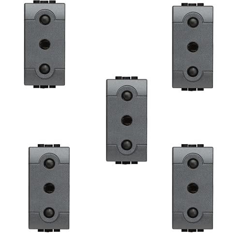 Enchufe 2P + T 16 A 250 V antracita – 5 unidades – Bticino L4119/V-5 A