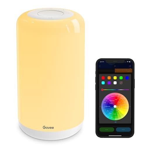 Govee Smart Tischlampe RGBWW WIFI Nachttischlampe, funktioniert mit Alexa und Google Assistant, 2200K-6500K, Musikmodus warmweiß Timer-Funktion Szenenmodi Nachtlicht für Schlafzimmer und Wohnzimmer