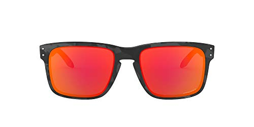 Oakley Men's OO9244 Holbrook Asian Fit Rectangular Sunglasses, Black Camo/Prizm Ruby, 56 mm