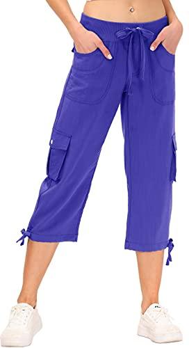 JINSHI Pantaloni Donna Cargo Pantalone Capri 3/4 Lungo Estivo Sportivo Leggero Lavoro Pant con Tasche Blu XXL