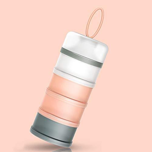 Queta Distributeur de lait en poudre portable pour nourrissons pour bébé, Boîtes empilables, 4 couches de contenant céréales/aliments/fruits/collations Allaitement 480 ml (Rose)