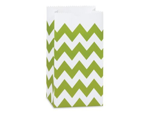 Apple Green Chevron Favor/treat Bags, Set of 48