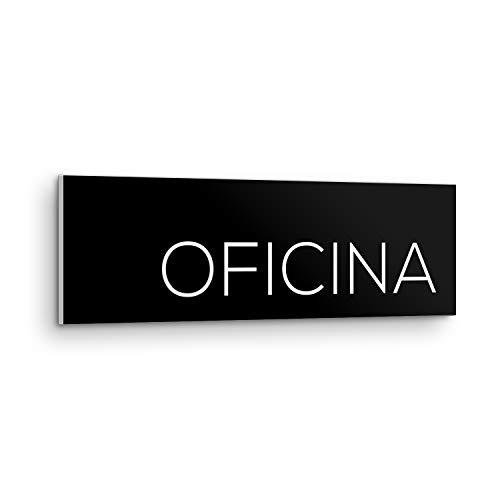 DON LETRA Placa Señal Oficina - Negro - 25 x 7.5 x 0.5 cm - PVC - Adhesivo - Uso Interior y Exterior - Señalización para Pared y Puerta