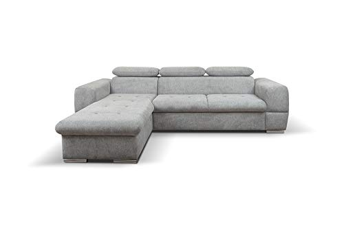 PM Ecksofa Schlaffunktion Bettfunktion Couch L-Form Polstergarnitur Wohnlandschaft Polstersofa mit Ottomane Couchgranitur - grau - Balerino Mini (Ecksofa Links)