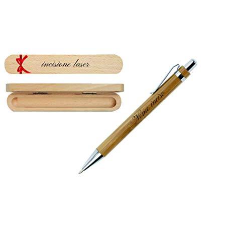 Penna a scatto in alluminio con fusto in bamboo refill blu PERSONALIZZATA CON INCISIONE (PN2)