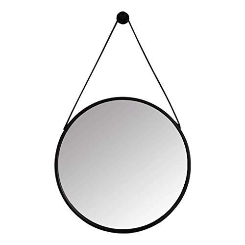 FACAIA Espejo de baño Circular 60CM Correa de Cuero Colgante Espejo Plateado HD Marco de Hierro Forjado de Vidrio a Prueba de explosiones para Dormitorio Decorativo (Color: Blanco, Tamaño: 40 * 40cm)