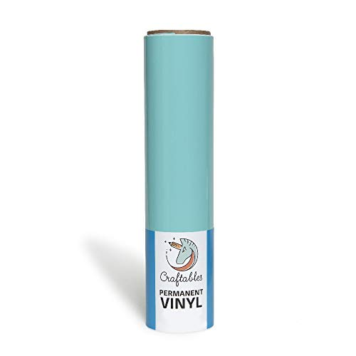 Craftables Tiff Blue Vinyl Roll - Permanent, Adhesive, Glossy & Waterproof | 12' x 6' | for Crafts, Cricut, Silhouette, Expressions, Cameo, Decal, Signs, Stickers