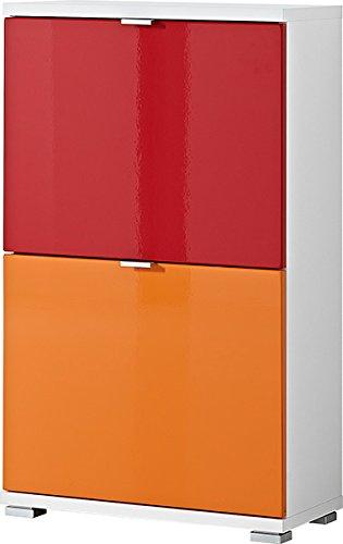 Germania 8794-84 3-tlg. Schuhschrank-Set Colorado in Weiß (Orange/Rot), 53 x 91 x 30 cm (BxHxT)