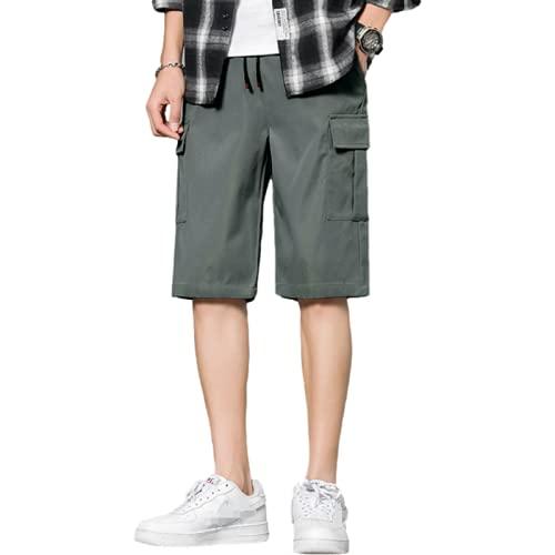Katenyl Pantalones Cortos de Carga Rectos para Hombre Empalmes de Moda Bolsillos Grandes Ropa de Calle Pantalones Cortos Deportivos básicos Sueltos Informales para Acampar al Aire Libre 4XL