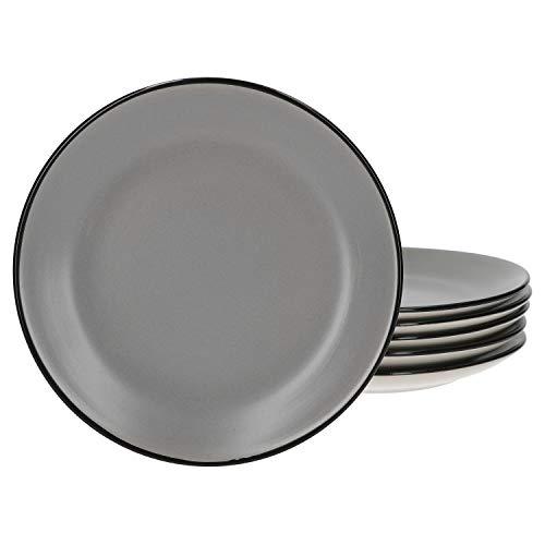Van Well 6er Set Kuchenteller Campo grau | Ø 19.5 cm | 6 Personen | Dessertteller | Servierteller | Gastro | edles Keramik-Geschirr