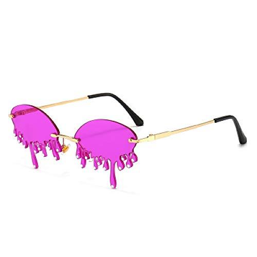 Moda Gafas De Sol Sin Montura De Moda para Mujer, Gafas De Sol Steampunk con Forma De Lágrimas Únicas Y Vintage, Gafas Femeninas, Gafas Uv400 Rhinestonedarkpurple