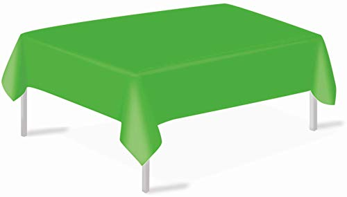 Lime Green Plastic Tablecloths 3 Pack Disposable Table Covers 54 x 108 Inch Shower Party Tablecovers PEVA Vinyl Table Cloths for Rectangle Tables up to 8 ft and Picnic BBQ Birthday Wedding Banquet