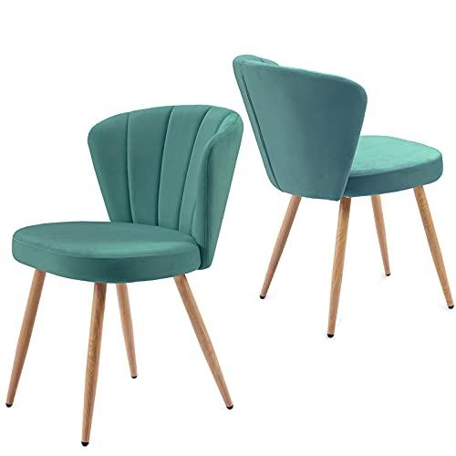 SUSIELADY Juego de 2 sillas de comedor de tela de terciopelo de color verde