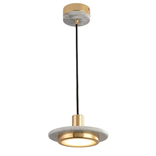 TDJJZHXYP Lámpara nórdica de cabecera de Metal para Dormitorio de una Sola Cabeza, candelabro de Comedor de Pasillo de mármol Minimalista posmoderno