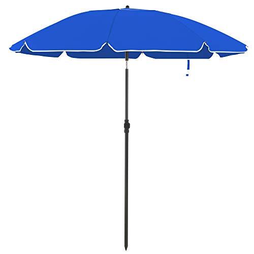 SONGMICS Sonnenschirm für Strand, Ø 160 cm, Gartenschirm, UV-Schutz bis UPF 50+, knickbar, Sonnenschutz, tragbar, Schirmrippen aus Glasfaser, blauGPU60BU