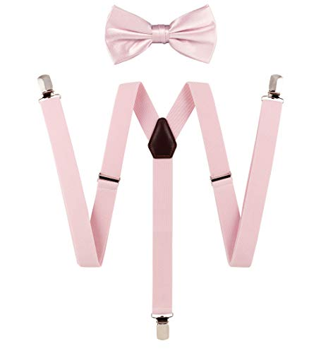 Tie G Solid Color Men's Suspender with Woven Solid Bow tie set,Strong Clip,Leather,Adjustable Braces (Blush)