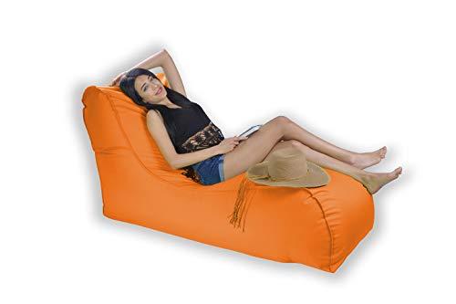 Easysitz Sitzsack Liege Outdoor mit Lehne 135x65x70 cm Sitzsäcke Indoor Relax Lounge Groß Liegesessel Liegekissen Liegematte für Kinder Erwachsene Innensack Wasserfest Waschbar (XL - Orange)