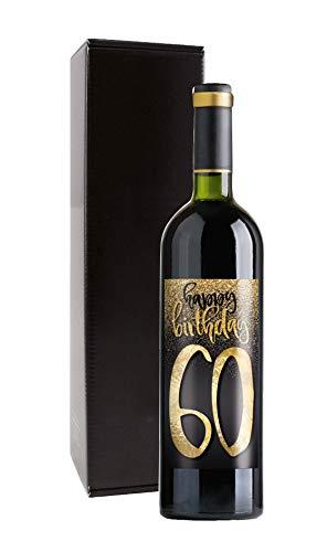 Wein-Geschenk Happy Birthday 60. Geburtstag mit Rotwein