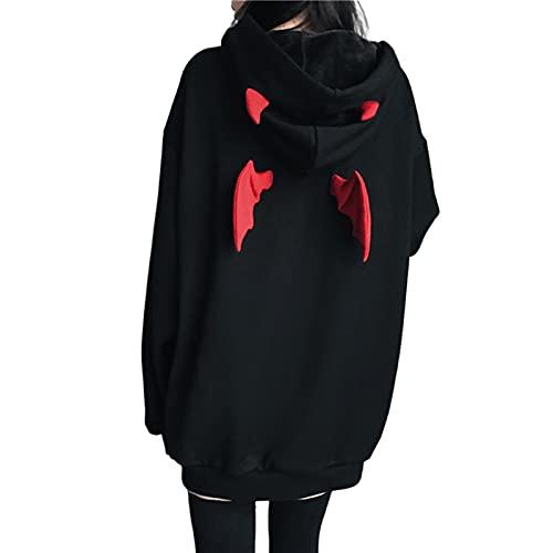 Frauen Teufel Flügel Kapuze Sweatshirt Beiläufige Lose Lange Hülsen Kapuzenpulli Pullover Oberseiten