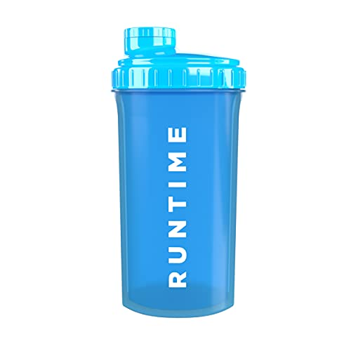 Runtime Protein-Shaker | Sport-Flasche für Nutrition und Fitness | 700ml Fassungsvermögen | mit Sieb - 100% dicht | BPA-frei - inkl. Messskala (Neon Blue)