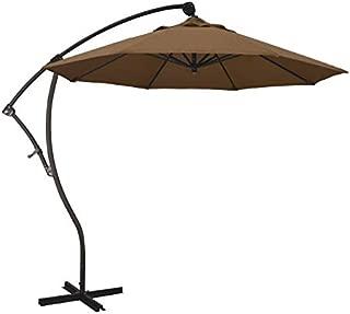 AstellaStyle 9' Sunbrella Teak Fabric Bronze Aluminum 8 Rib 360 Rotation Tilt Cantilever Offset Umbrella