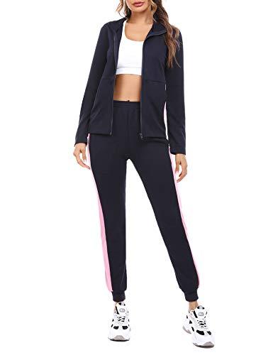 Akalnny Damen Sportanzug Jogginganzug 2 Teiliger Trainingsanzug Baumwolle Freizeitanzug top und Hose Pyjama Hausanzug für Herbst Winterg(Marine + Pink,XL)