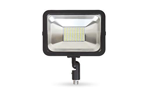 LLT 50W LED Flood Light Outdoor Knuckle Mount - 5000K Daylight 3750Lm 100-277V - LED Yard Lights - Black Backyard Flood Lights - Bright Landscape Lighting - Aluminum and Tempered Glass