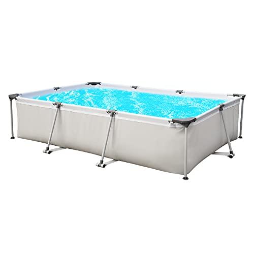 Sekey Piscina desmontable, cuadrada piscina de jardín de verano, piscina de metal 300 x 207 x 65 cm - Gris