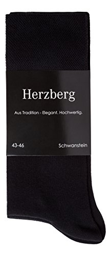 Herzberg Business Socken Damen/Herren Baumwolle, 10 Paar, schwarz, Größe 39-42