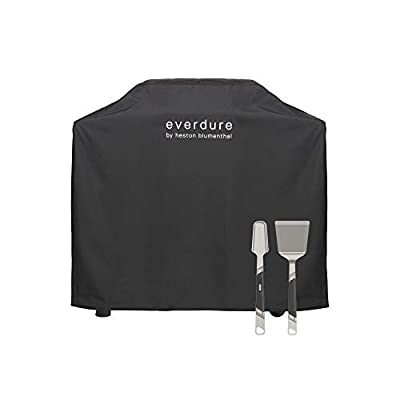 Everdure by Heston Blumenthal FORCE Freestanding Gas Grill Long Cover with Sterling Silver Spatula and Tongs Included: Durable Straps, Waterproof Lining and 4 Season Protection, Black