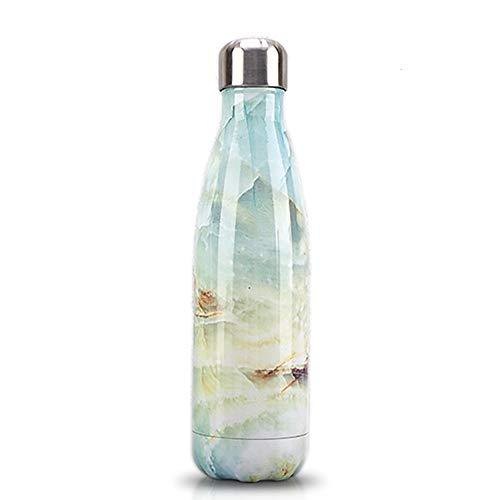 kabinga 1 Agua,Aislada al Vacío de Acero Inoxidable Botella , 500 mL (17oz) Mantener Sus Bebidas Caliente y Fría,Wave Water Bottle, Blend, L