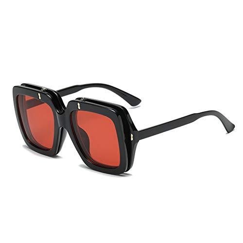 WZYMNTYJ Neue Sonnenbrillen mit doppelter Linse und Schildkröte Gestell Gelbe Brillen Übergroße Sonnenbrillen für Frauen Design-Farben Quadrat Rot Schwarz