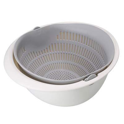 Cesto de drenaje doble para cocina, cesta de almacenamiento, coladores, escurridor, herramienta de limpieza de vegetales (color: gris)