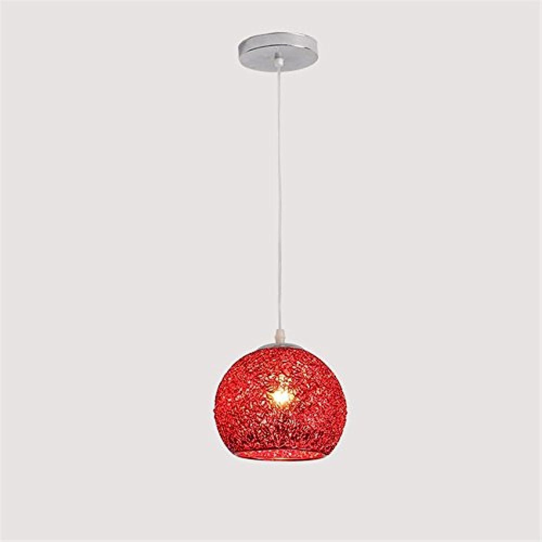 Haoaijia Pendelleuchte Farbe Eisen Kunst Pendelleuchte Led E27 Schlafzimmer Restaurant Wohnzimmer Beleuchtung Pendelleuchte Dekoration Lampen Leuchte, Rot, 19Cm