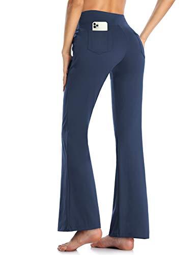 MOVE BEYOND Butterweiche Damen Bootcut Yogahose mit 4 Taschen Bauchkontrolle Workout Bootleg Arbeitshose, Blau, L
