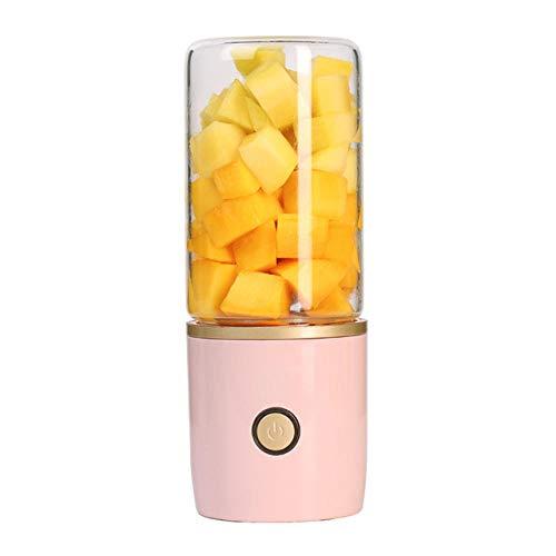 FPXNBONE Licuadora Portátil Mini Batidora,Taza de Jugo eléctrica con Pantalla Digital, máquina de Jugo Recargable USB-Pink B,Mini batidora de Frutas Vaso exprimidor