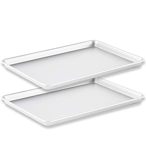 YuCool Baking Sheets Cookie Pan Set of 2, Stainless Aluminium Baker Tray, Commercial Grade Bakeware, Healthy & Non Toxic, Rust Free & Less Stick, Easy Clean & Dishwasher Safe - Silver