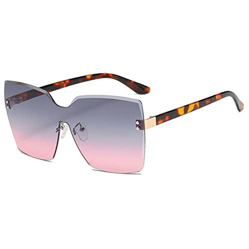 XDOUBAO Gafas Retro negro adulto Cristal de gafas de sol sin marco espejo pareja doloroso espejo de tiro-Color foto_Pastos de gradación de marco dorado