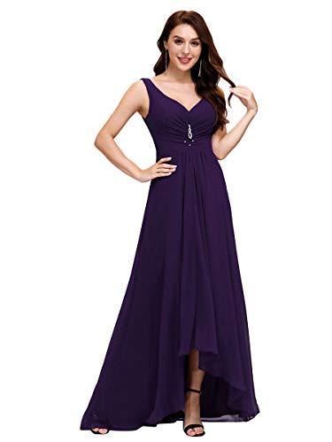 Ever-Pretty Scollo V Abito da Damigella Donna Lunga High-Low Chiffon Impero Vestiti da Sera Viola Scuro 54EU