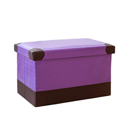 Wddwarmhome Pouf Pliable PU Boîte de Rangement Tabouret de Rangement pour Objets de ménage La Charge maximale est de 150 kg - Facile à Nettoyer (Couleur : Purple, Taille : 40 * 25 * 25cm)