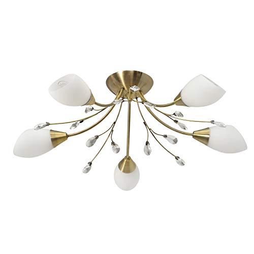 MW-Light 356012905 Deckenleuchte Florentiner Elegante Messingfarbiges Gold Kristall Weiße Glasschirme 5 Flammig E14