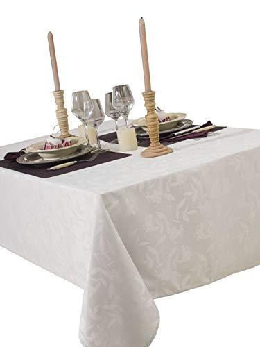 CALITEX - Tovaglia damascata Ombra, 150 x 350 cm, Colore: Bianco