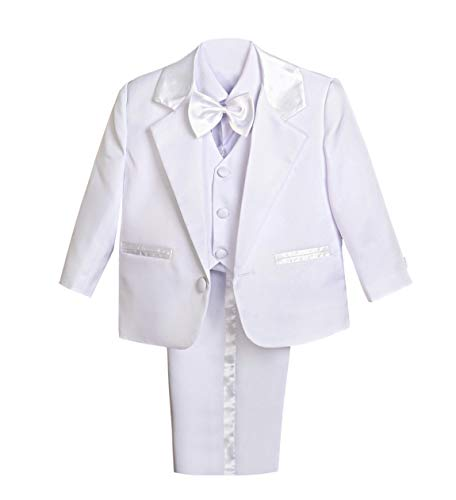Dressy Daisy Baby Boy' 5 Pcs Set Formal Tuxedo Suits No Tail Wedding Christening Outfits Size 12 Months White