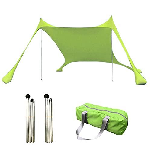 Parasol Para Tienda De Playa, Toldo De Protección Solar Portátil Para Exteriores UPF50 +, Refugio Solar Antiviento De Fácil Instalación Con 4 Bolsas De Arena, 2 Varillas De Soporte Y Bolsa De Embalaje