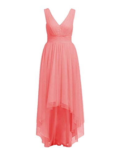 High Low Bridesmaid Dresses Tulle Hi-Lo Prom Party Dress V-Neck Evening Formal Gowns Coral US 10