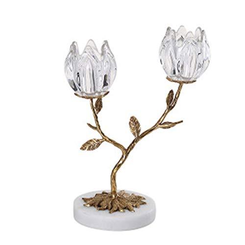 Romantico Soporte de vela de oro única cabeza de doble cabezal de cristal de cristal de cristal de latón con soporte de vela de boda decoración de vacaciones adornos de mesa Decoración de mesa de banq