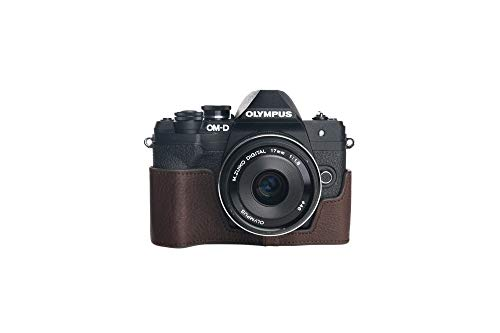 Funda para E-M10 Mark IV 4, Zakao hecha a mano de cuero auténtico medio cámara funda para Olympus OM-D E-M10 Mark IV 4 con correa de mano (café)