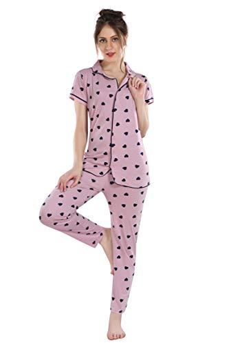 Fashigo Women's Cotton Printed Night Suit Set (NW159LPK_XL_Light Pink_X-Large)