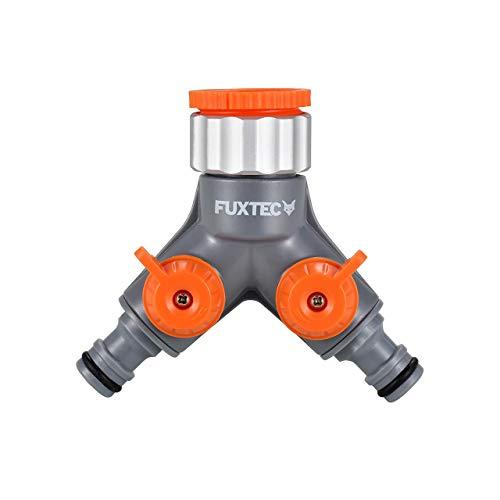Fuxtec 2-Wege-Verteiler FX-2WVT2 Anschlussmöglichkeit für 2 Geräte an einen Wasserhahn, Wasserdurchfluss regulier- und absperrbar