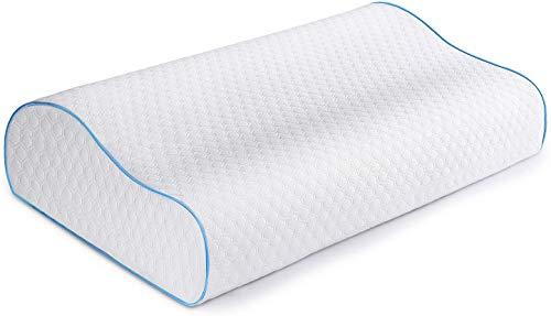 Mrao Cervical Contour Neck Pillow, Memory Foam Pillow, Orthopedic Neck Pillow, Neck Massage Pillow, Soft Washable Pillow, Hypoallergenic 50 x 30cm